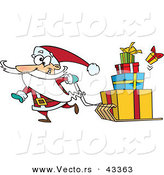 Vector of a Goofy Cartoon Santa Pulling Christmas Gifts on a Sled by Toonaday