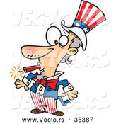 Vector of a Goofy Cartoon Uncle Sam with a Lit Dynamite Stick in His Mouth by Toonaday