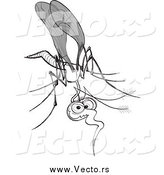 Vector of a Goofy Grayscale Mosquito by Zooco