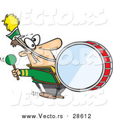 Vector of a Goofy Marching Band Drummer Man Banging a Drum - Cartoon Style by Toonaday