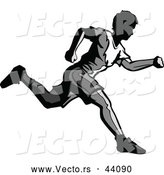 Vector of a Grayscaled Young Man Running Forward by Chromaco