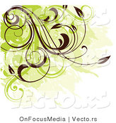 Vector of a Green and Brown Grunge Corner Design Element with Vines by OnFocusMedia