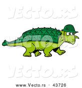 October 10th, 2017: Vector of a Green Armored Dinosaur with a Spiked Back Plate, Wearing a Hat by LaffToon