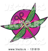 Vector of a Green Dragonfly over a Purple Circle by Andy Nortnik