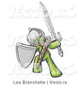 Vector of a Green Knight with Shield and Sword Standing in Battle Mode by Leo Blanchette