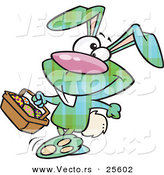 Vector of a Green Plaid Cartoon Easter Bunny Carrying a Full Basket of Painted Eggs by Toonaday