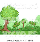 Vector of a Green Shrubs and Trees Backdrop by BNP Design Studio
