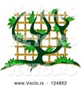Vector of a Green Vine Growing up a Trellis by