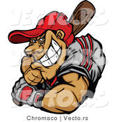 Vector of a Grinning Baseball Player Batting by Chromaco