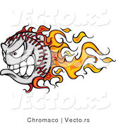 Vector of a Grinning Cartoon Baseball Mascot with Flame Trails and Intimidating Red Eyes by Chromaco