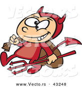 Vector of a Grinning Cartoon Devil Boy Carrying a Sack and Pitchfork by Toonaday