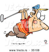 Vector of a Grinning Cartoon Golfer Running Towards a Golf Ball on a Tee with His Club by Toonaday