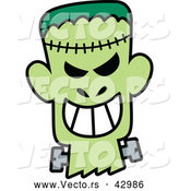 Vector of a Grinning Cartoon Halloween Frankenstein by Zooco