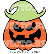 Vector of a Grinning Cartoon Halloween Jackolantern Scarecrow by Zooco