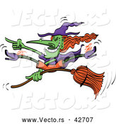 Vector of a Grinning Cartoon Halloween Witch Doing Wicked Tricks on Her Broomstick by Zooco