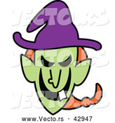 Vector of a Grinning Cartoon Halloween Witch with One Tooth by Zooco