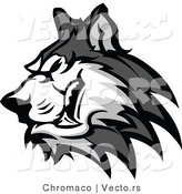 Vector of a Grinning Cartoon Husky Dog Growling by Chromaco