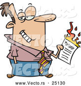 Vector of a Grinning Cartoon Man Burning Mortgage Contract by Toonaday