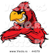 Vector of a Grinning Cartoon Red Cardinal Bird Mascot with Arms Crossed by Chromaco