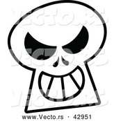 Vector of a Grinning Cartoon Skull - Outline by Zooco