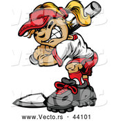 Vector of a Grinning Cartoon Softball Player Girl Batting at Home Base by Chromaco