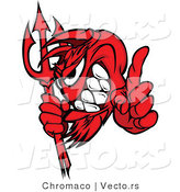 Vector of a Grinning Red Devil Mascot Pointing Finger with Pitchfork by Chromaco