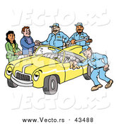Vector of a Group of Friendly Mechanics Finishing up Work on a Yellow Classic Convertible Car Owned by a Couple by LaffToon