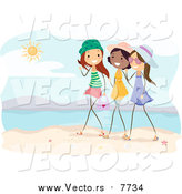 Vector of a Group of Girls Talking on a Beach by BNP Design Studio
