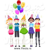 January 15th, 2015: Vector of a Group of Happy Children at a Birthday Party by BNP Design Studio