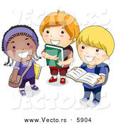 October 9th, 2015: Vector of a Group of Happy School Kids Standing with Books by BNP Design Studio