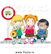 July 7th, 2015: Vector of a Group of Happy Young School Kids Waiting at a Bus Stop by BNP Design Studio