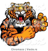 Vector of a Growling Adult Tiger Mascot Prepared to Fight to the Death by Chromaco