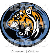 Vector of a Growling Tiger Icon by Chromaco