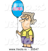 "Vector of a Grumpy Cartoon Birthday Woman Holding an ""OLDER"" Balloon by Toonaday"
