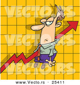 Vector of a Grumpy Cartoon Businessman Riding a Red Increase Arrow over a Graph Chart by Toonaday