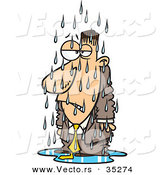 Vector of a Grumpy Cartoon Man Standing Outside in the Cold Rain by Toonaday