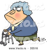 Vector of a Grumpy Old Lady Using a Walker - Cartoon Styled by Toonaday
