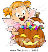 Vector of a Halloween Cartoon Girl in a Fairy Costume Witting Behind Her Candy Stash in a Pumpkin by BNP Design Studio