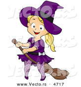 Vector of a Halloween Cartoon Girl Witch Riding a Broomstick by BNP Design Studio