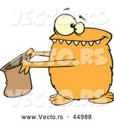 Vector of a Halloween Cartoon Orange Monster Holding out a Candy Bag by Toonaday