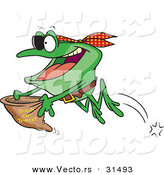 Vector of a Halloween Cartoon Pirate Frog Trick-or-Treating by Toonaday