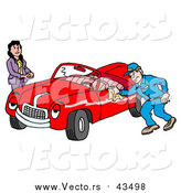 Vector of a Happy Auto Mechanic Man Smiling While Shining a Classic Red Convertible Car for a Lady by LaffToon