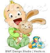 Vector of a Happy Baby Boy Hugging Easter Bunny by BNP Design Studio