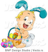 Vector of a Happy Baby Bunny Boy with Easter Basket Full of Eggs by BNP Design Studio
