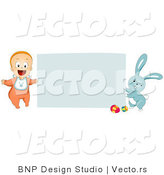 Vector of a Happy Baby with Easter Bunny Beside Blank Sign by BNP Design Studio