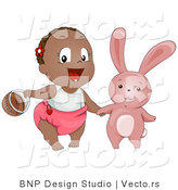 Vector of a Happy Black Baby Girl with Easter Bunny and Basket by BNP Design Studio