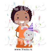 January 3rd, 2015: Vector of a Happy Black Birthday Girl Holding a Rabbit by BNP Design Studio
