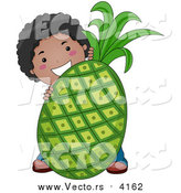 Vector of a Happy Black Boy Standing Behind a Giant Pineapple by BNP Design Studio