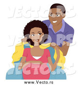 Vector of a Happy Black Man Covering His Pretty Pregnant Wife with a Blanket by BNP Design Studio