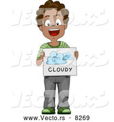 Vector of a Happy Black School Boy Showing a Cloudy Weather Flash Card by BNP Design Studio